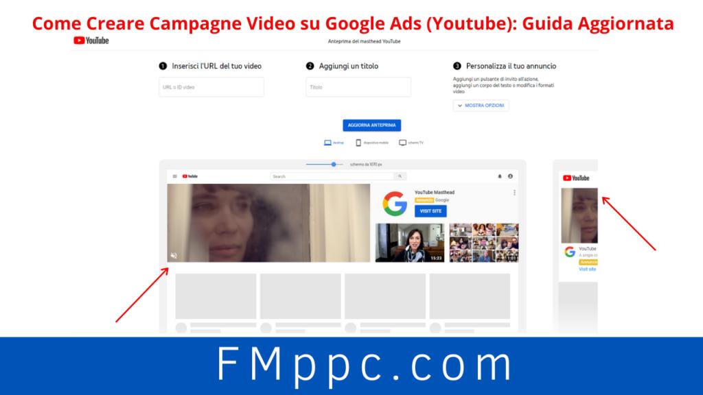 Strumento di creazione delle campagne YouTube con annuncio Masthead